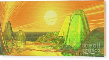 Wood Print featuring the digital art Green Crystal Hills by Kim Prowse