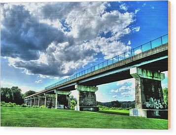 Afternoon By The Bridge 1 Wood Print by Heather  Boyd