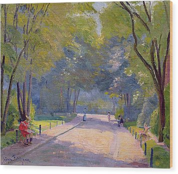 Afternoon In The Park Wood Print by Hippolyte Petitjean