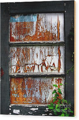 Aged Door Wood Print by Amy Sorrell