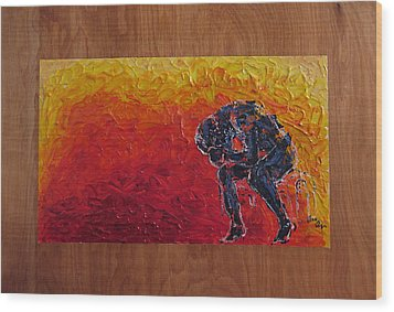 Wood Print featuring the painting Agony Doubled Over In Flames On Wood Panel by M Zimmerman