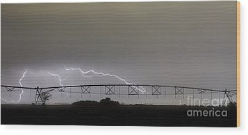 Agricultural Irrigation Lightning Bolts Wood Print by James BO  Insogna