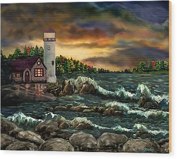 Ah-001-015 David's Point Lighthouse  - Ave Hurley Wood Print by Ave Hurley