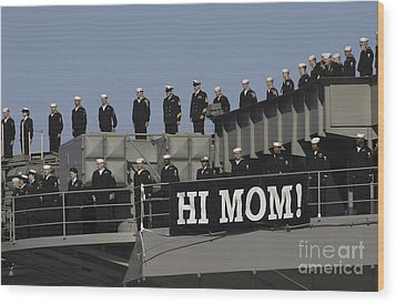 Ailors And Marines Man The Rails Aboard Wood Print by Stocktrek Images