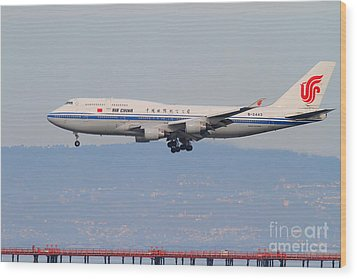 Air China Airlines Jet Airplane At San Francisco International Airport Sfo . 7d12272 Wood Print by Wingsdomain Art and Photography