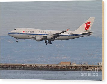 Air China Airlines Jet Airplane At San Francisco International Airport Sfo . 7d12273 Wood Print by Wingsdomain Art and Photography