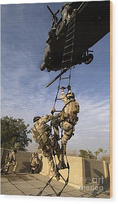 Air Force Pararescuemen Are Extracted Wood Print by Stocktrek Images