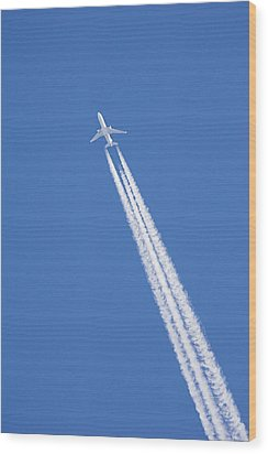 Aircraft Contrail Wood Print by Duncan Shaw