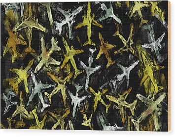 Airlines Collage Abstract Wood Print by David G Paul