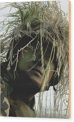Airman Wearing A Ghillie Suit Wood Print by Stocktrek Images