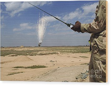 Airmen Conduct A Controlled Detonation Wood Print by Stocktrek Images