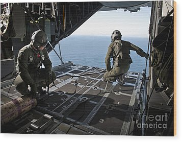 Airmen Wait For The Signal To Deploy Wood Print by Stocktrek Images