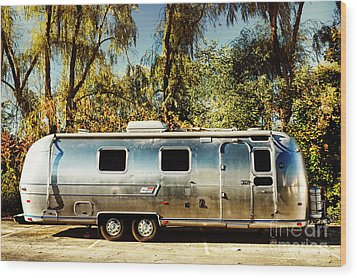 Airstream Wood Print by HD Connelly