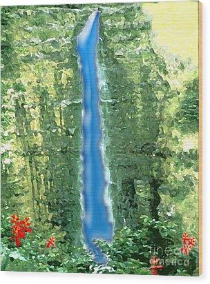 Wood Print featuring the digital art Akaka Falls by Karen Nicholson