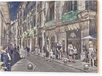 Wood Print featuring the photograph Al Fresco - Girona Spain by Jack Torcello
