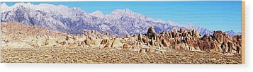 Alabama Hills Panorama Wood Print by Michael Courtney