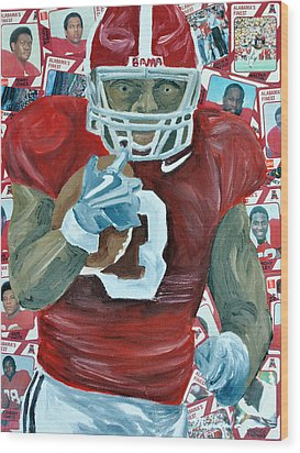 Alabama Running Back Wood Print by Michael Lee