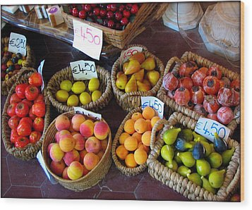 Alabaster Fruit Wood Print by Carla Parris