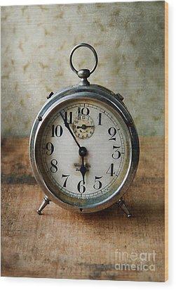 Alarm Clock Wood Print by Jill Battaglia