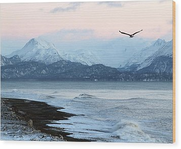 Alaskan Beach At Sunset Wood Print by Michele Cornelius