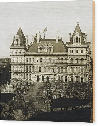 Albany New York - State Capitol Building - C 1900 Wood Print by International  Images