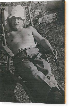 Albert Einstein 1879-1955, Sunbathing Wood Print by Everett