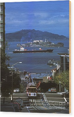 Alcatraz From San Fran Hilltop Wood Print by Paul W Faust -  Impressions of Light