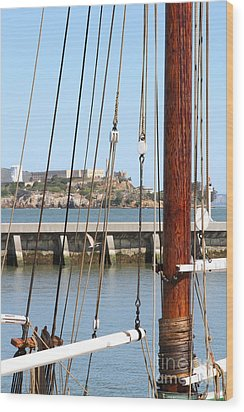Alcatraz Island Through The Hyde Street Pier In San Francisco California . 7d14148 Wood Print by Wingsdomain Art and Photography