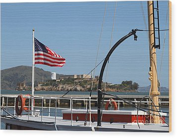 Alcatraz Island Through The Hyde Street Pier In San Francisco California . 7d14163 Wood Print by Wingsdomain Art and Photography
