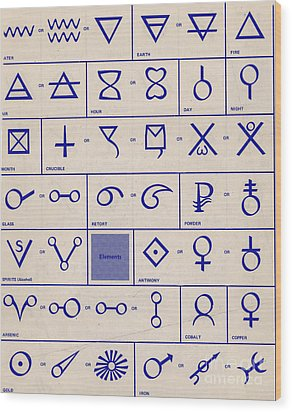 Alchemical Symbols Wood Print by Science Source