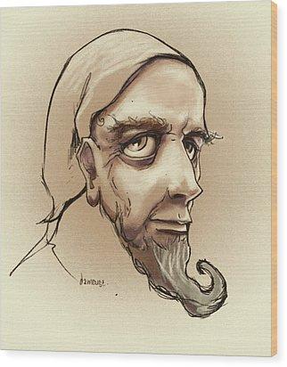 Alchemist Sketch Wood Print by Dorianne Dutrieux