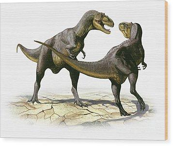 Alectrosaurus Olseni, A Prehistoric Wood Print by Sergey Krasovskiy