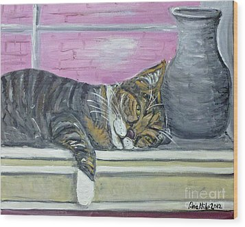 Alex On Windowsill  Wood Print