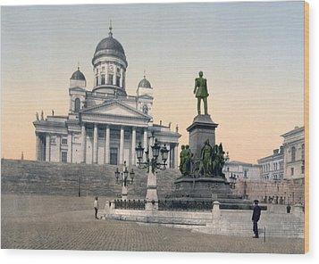 Alexander II Memorial At Senate Square In Helsinki Finland Wood Print by International  Images