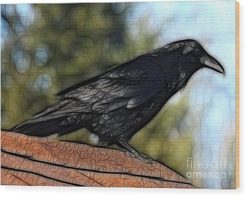Alfred On The Roof Wood Print by Marjorie Imbeau