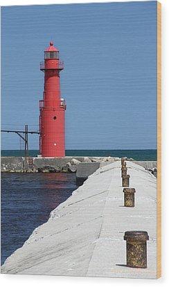 Algoma Lighthouse Pier Wood Print by Mark J Seefeldt