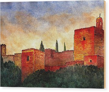Alhambra At Sunset Wood Print by Barbara Smith