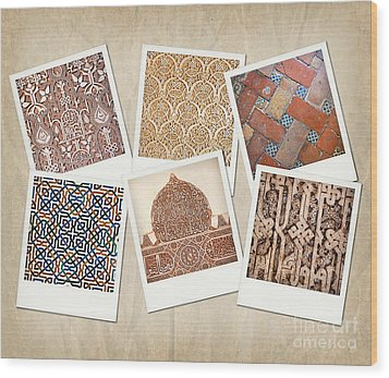 Alhambra Textures Wood Print by Jane Rix