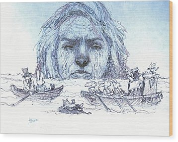 Alice Cries Me A Flood Wood Print by Herb Russel