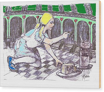 Alice Finds The Key Wood Print by Herb Russel