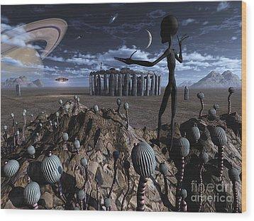 Alien Explorers On An Alien World Wood Print by Mark Stevenson