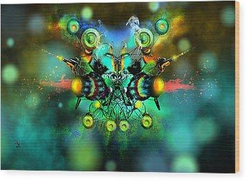 Alien Fighter Wood Print by Adam Vance