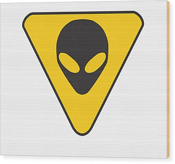 Alien Grey Hazard Graphic Wood Print by Pixel Chimp