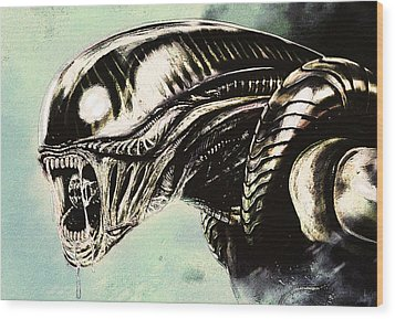 Alien Wood Print by Jeff DOttavio