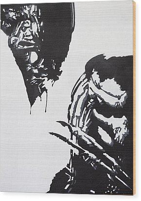 Alien Vs Preditor Wood Print by Stephen Ford