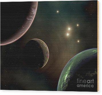Alien Worlds That Orbit Different Types Wood Print by Mark Stevenson