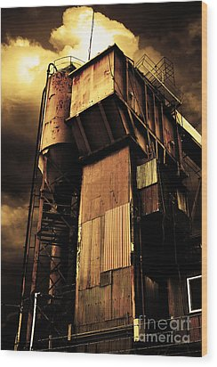 Alive And Well In America . The Old Concrete Plant In Berkeley California . Golden . 7d13967 Wood Print by Wingsdomain Art and Photography