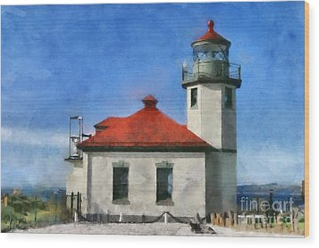 Alki Point Lighthouse In Seattle Washington Wood Print