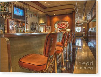 All American Diner 3 Wood Print by Bob Christopher
