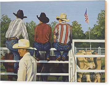 Wood Print featuring the painting All American by Pat Burns